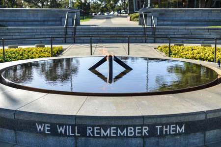 eternal: Eternal Flame in Kings Park, Perth, Australia. With the inscription We Will Remember Them. Stock Photo