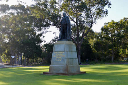 premier: John Forrest statue in Kings Park, Perth honors the first Premier of Western Australia and the first President of the Kings Park Board. Stock Photo