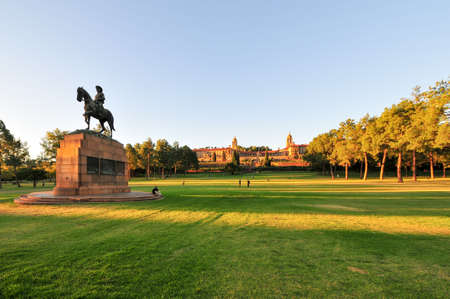 Union Buildings, Pretoria, South Africa at sunset. Louis Botha monument adjacent. Stock Photo