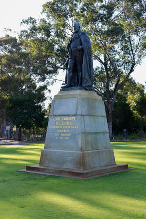 statesman: John Forrest statue in Kings Park, Perth honors the first Premier of Western Australia and the first President of the Kings Park Board. Stock Photo