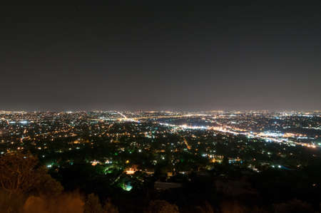 Johannesburg View from Northcliff Ridge at night. Archivio Fotografico