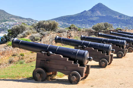 Cannons along the coast of Cape Town, South Africa