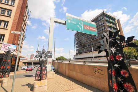 nelson mandela: Johannesburg, South Africa - March 26, 2012: Nelson Mandela Bridge onramp in Newtown, Johannesburg, South Africa.