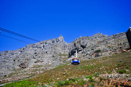 Cape Town, South Africa - March 25, 2012: Gondola climbing up Table Mountain in Cape Town, South Africa.