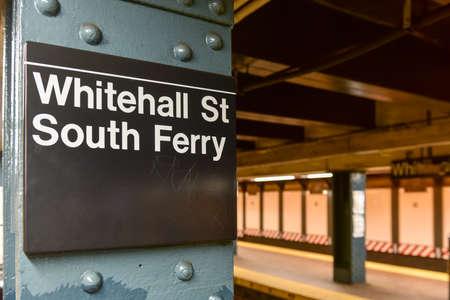 New York, New York - July 12, 2015: Whitehall Street, South Ferry Subway Station in Manhattan.