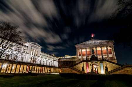 renowned: The Altes Museum at night. It is one of several internationally renowned museums on Museum Island in Berlin, Germany.