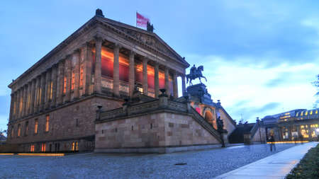 internationally: The Altes Museum at dusk. It is one of several internationally renowned museums on Museum Island in Berlin, Germany.