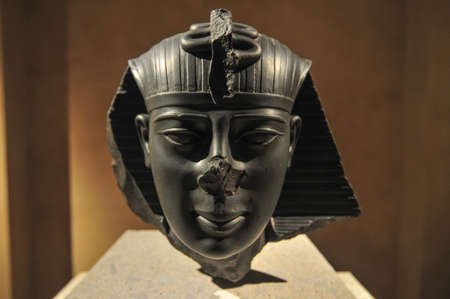 pharoah: Berlin, Germany - November 5, 2010: Egyptian Pharoah Bust from the Neues Museum, Berlin