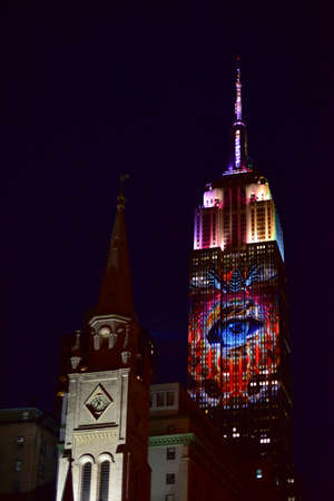 manhattan project: New York City - August 1, 2015: Endangered animals projected onto south side of the Empire State Building in New York City as part of the Racing Extinction project.
