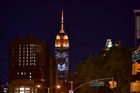 extinction: New York City - August 1, 2015: Endangered animals projected onto south side of the Empire State Building in New York City as part of the Racing Extinction project as seen from the Flatiron District.