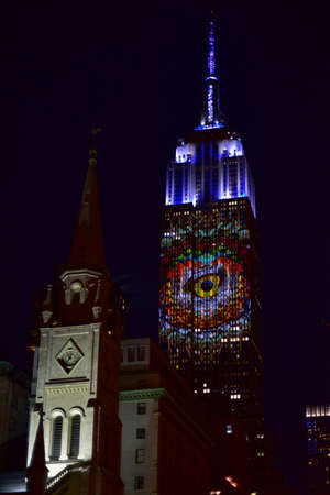 New York City - August 1, 2015: Endangered animals projected onto south side of the Empire State Building in New York City as part of the Racing Extinction project.