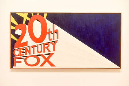 20th: New York City - August 7, 2015: 20th Century Fox logo as represented in the Whitney Museum of Art in New York City.