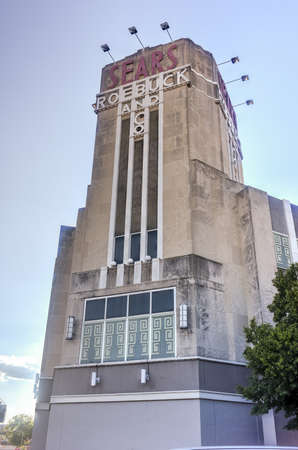 sears: Brooklyn, New York - August 2, 2015: Art deco Sears store on Bedford Avenue in Brooklyn. Sears, Roebuck & Co. is an American multinational department store chain founded in 1886.
