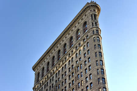 broadway tower: New York City - August 1, 2015: Flat Iron building facade. Completed in 1902, it is considered to be one of the first skyscrapers ever built. Editorial