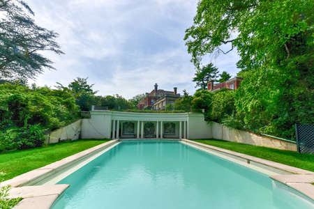 fitzgerald: Pool at Long Island Gold Coast Mansion at Old Westbury Gardens