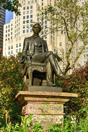 governor: New York City - August 1, 2015: William H. Seward statue at Madison Square Park. He served as the 12th Governor of New York, United States Senator and the United States Secretary of State. Editorial