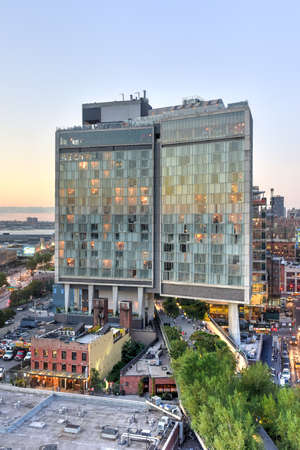 New York City - August 7, 2015: View across Manhattan Meatpacking District and Chelsea from above, at sunset with The Standard Hotel in view.