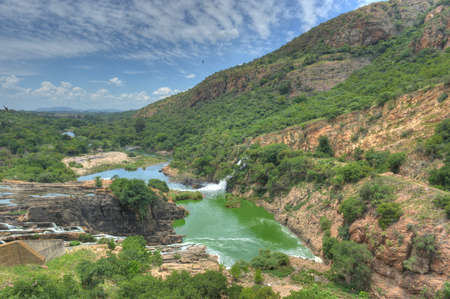 and south: Waterfall of Crocodile River Hartbeespoort Dam in South Africa