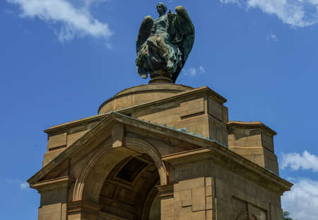 apartheid in south africa: The Anglo-Boer War Memorial. It is on the grounds of the Museum of Military History in Saxonwold, Johannesburg was known as the Rand Regiments Memorial. Editorial
