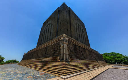 boer: Monument to Afrikaner Leader at Voortrekker Monument. The Voortrekker Monument is located just south of Pretoria in South Africa. This massive granite structure is prominently located on a hilltop, and was raised to commemorate the Voortrekkers who left t