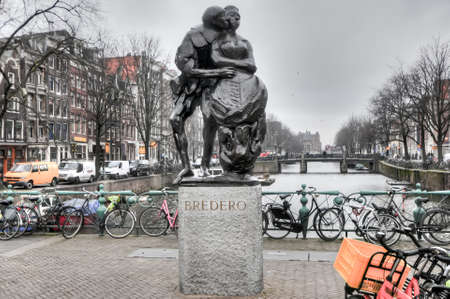 playwright: Amsterdam, Netherlands - February 24, 2012: Monument to Gerbrand Adriaenszoon Bredero. He was a Dutch poet and playwright in the period known as the Dutch Golden Age.