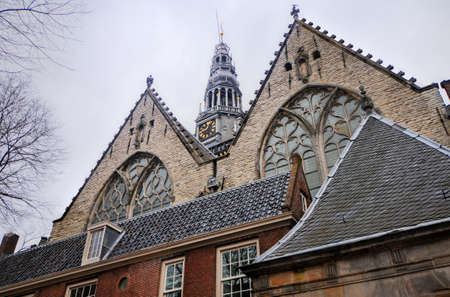 gabled houses: The 800-year-old Oude Kerk (old church) is Amsterdams oldest building and oldest parish church, founded ca. 1213.