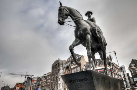 wilhelmina: A statue of Queen Wilhelmina of the Netherlands in Amsterdam. Editorial