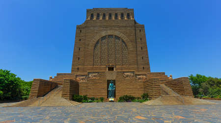 boer: The Voortrekker Monument is located just south of Pretoria in South Africa. This massive granite structure is prominently located on a hilltop, and was raised to commemorate the Voortrekkers who left the Cape Colony between 1835 and 1854.