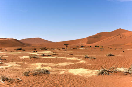 vlei: Sossusvlei (sometimes written Sossus Vlei) is a salt and clay pan surrounded by high red dunes, located in the southern part of the Namib Desert, in the Namib-Naukluft National Park of Namibia.