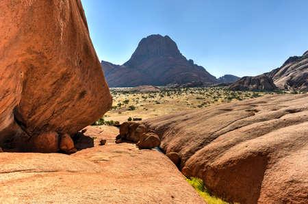 spitzkoppe: Landscape with massive granite rocks in Spitzkoppe in the Namib desert of Namibia.