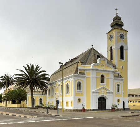 evangelical: The German Evangelical Lutheran Church in Swakopmund, Namibia.
