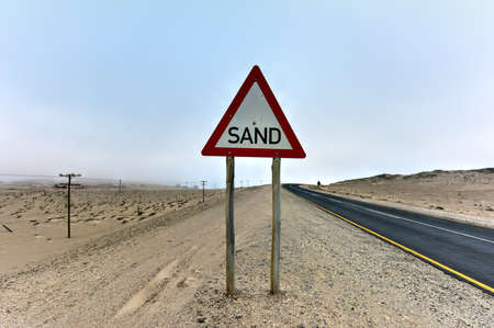 luderitz: Sand sign in the Namibia desert outside of Luderitz and Kolmanskop in Africa.