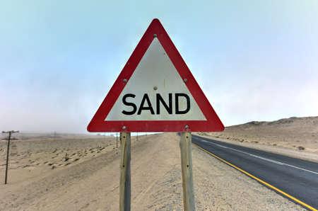 luderitz: Sand sign in the Namibia desert outside of Luderitz and Kolmanskop in Africa.