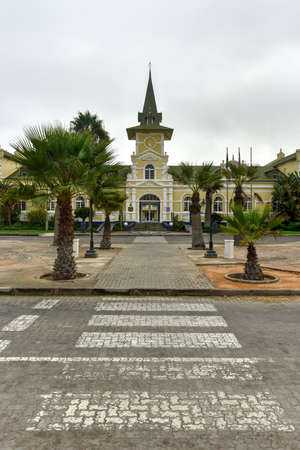 hotel building: Swakopmund Hotel based on the architecture of the historic (1902) station building in Swakopmund, Namibia.