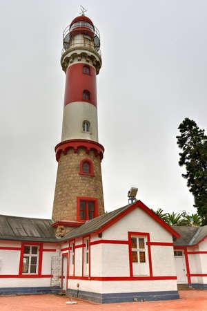swakopmund: Famous Swakopmund Lighthouse in Swakopmund, city on the Atlantic coast of northwestern Namibia, 280 km (175 miles) west of Windhoek, Namibias capital.