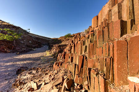 geological formation: Basalt, volcanic rocks known as the Organ Pipes in Twyfelfontein, Damaraland, Namibia, Southern Africa Stock Photo