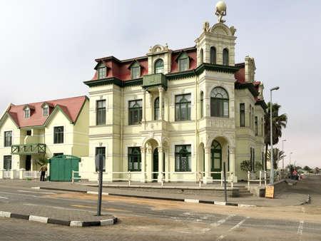 swakopmund: German architecture in Swakopmund. Cityscape with the Hohenzollern House in Namibia, Africa