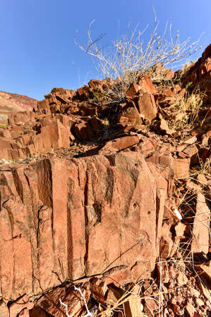 Basalt, volcanic rocks known as the Organ Pipes in Twyfelfontein, Damaraland, Namibia, Southern Africa Stock Photo