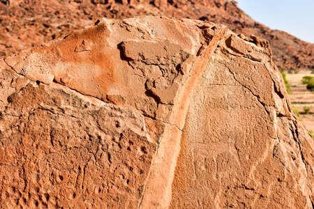 engravings: Bushman prehistoric rock engravings at Twyfelfontein, Namibia. Stock Photo