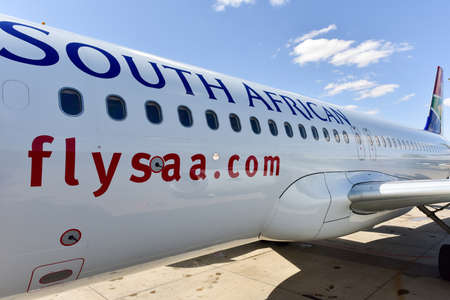 Windhoek, Namibia - May 25, 2015: South African Airlines airplane on the runway in Windhoek, Namibia. South African Airways is national flag carrier and largest airline of South Africa