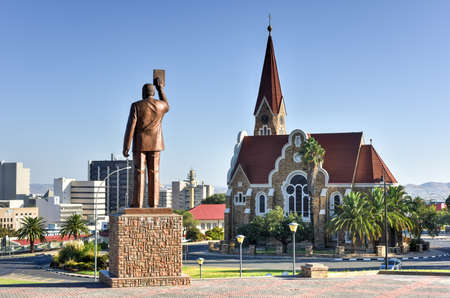 blue church: Christuskirche (Christ Church), famous Lutheran church landmark in Windhoek, Namibia