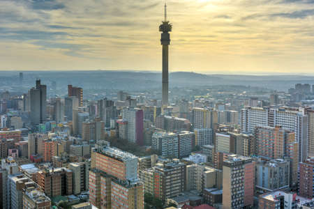 The Hillbrow Tower (JG Strijdom Tower) is a tall tower located in the suburb of Hillbrow in Johannesburg, South Africa. Stock Photo