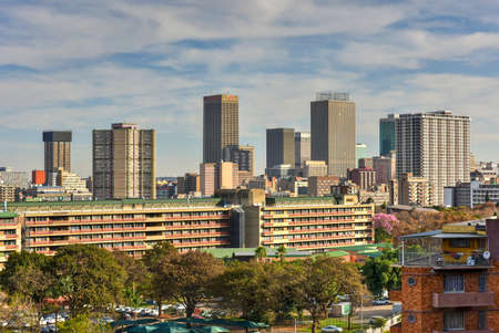 gauteng: View from Ponte Tower unto the skyline of Johannesburg. Stock Photo