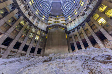 gauteng: Ponte City Building interior cylinder. Ponte City is a famous skyscraper in the Hillbrow neighbourhood of Johannesburg. Stock Photo