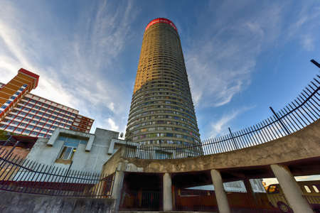 Ponte City Building at sunset. Ponte City is a famous skyscraper in the Hillbrow neighbourhood of Johannesburg.