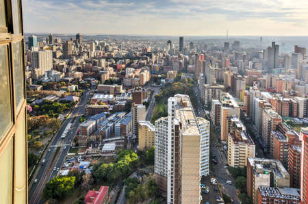 View from Ponte Tower unto the skyline of Johannesburg. Stock Photo