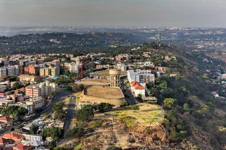 johannesburg: View from Ponte Tower unto the skyline of Johannesburg. Stock Photo