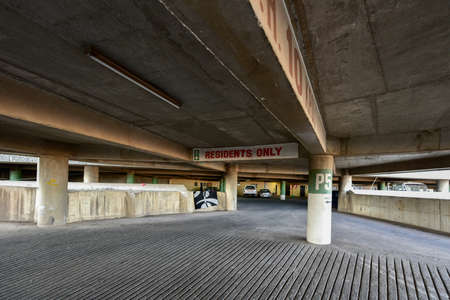 neighbourhood: Parking lot in Ponte City Building. Ponte City is a famous skyscraper in the Hillbrow neighbourhood of Johannesburg. Stock Photo
