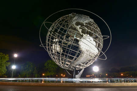 commissioned: Flushing, New York - September 19, 2015: The iconic Unisphere in Flushing Meadows Corona Park in Queens, NYC. The 12 story structure was commissioned for the 1964 NYC Worlds Fair.