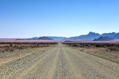 gravel roads: Dirt and gravel roads in the NamibRand Nature Reserve, Namibia. Stock Photo